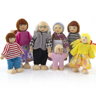 Wooden Furniture Dolls House Family Miniature 7 People Doll Toy For Kid Child