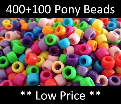 *Buy 400 Get 100 Free* Pony Beads, 9x6mm 500pcs Hair Braid, Mixed Colours Spacer