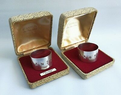Vtg Pair of 1970 Harman Bros Brushed Cased Solid Silver Star Napkin Rings in Box