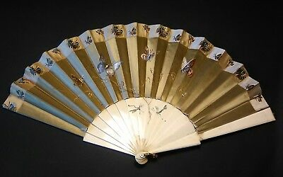 Antique Silk Fan handpainted butterflies and fine embroidery With Bone staves.