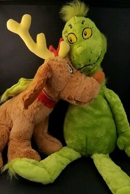 How the GRINCH Stole Christmas Plush Doll & MAX the Dog w Antler Kohls EUC Toy