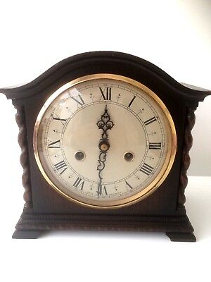 Vintage Smiths Oak Barley Twist Striking Mantel Clock W/o