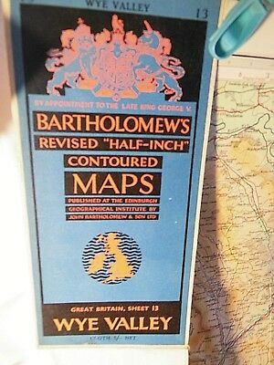 Wye Valley- Severn Valley 1951 Topographic Coloured Bartholomew Map- On Linen