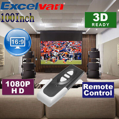 """Remote Control 100"""" 16:9 Electric Motorized HD Projector Screen Wall mountable"""