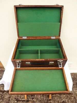Vintage Wooden Engineers Tool Makers Or Watch Makers Box Cabinet