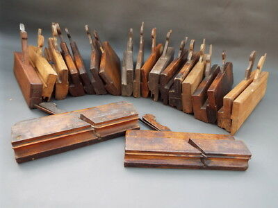 Job lot of 20 old wooden moulding planes - vintage woodworking tools