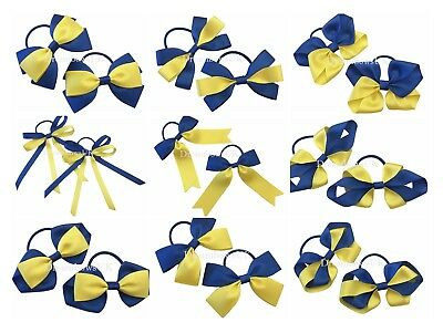 Royal blue and yellow school bows, Clips or bobbles, Toddler hair accessories