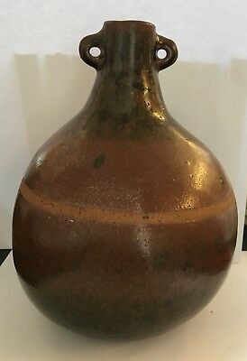 Pilgrim Flask Costrel In The Style Of Verwood Pottery Owl