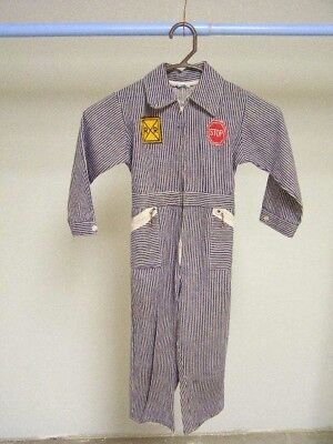 Vintage Children's Montgomery Ward Striped Railroad Coveralls Overalls 1960's