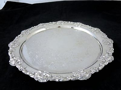"""Antique SILVERPLATE FOOTED ROUND TRAY Grape & Vine 12"""""""
