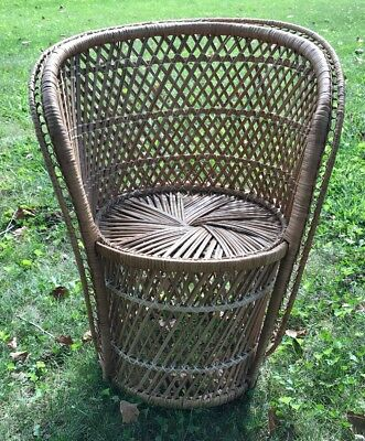 Vintage Child Size Wicker Rattan Peacock Tiki Chair BOHO Photography Prop