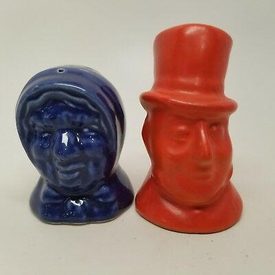 Vintage Cobalt Blue Red European Peasant Couple Salt and Pepper Shakers Ceramic