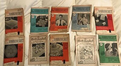Lot of 10 THE WORKBASKET Magazine From 40/50's with Recipes~Needlecraft and More