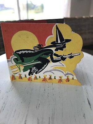 Vintage Halloween Witch Riding on Broom Party Invitation A-Meri-Card