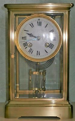French Four Glass Clock Serviced & Overhauled