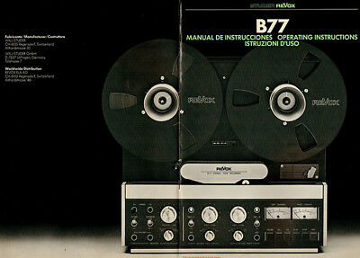Studer Revox B77 - Reel To Reel Tape - Operating Instructions - PDF File