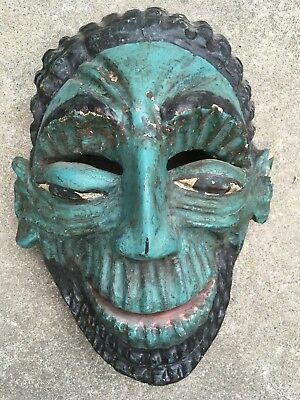 Friendly Green Painted Ogre Giant Vintage Mexican Face Mask - Hand Carved Wood