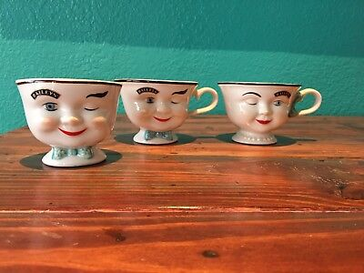 2 Baileys Face Winking Mugs & Cup For Sugar Limited Edition 1996