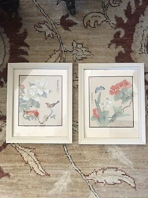 "Pair of Vintage Japanese Silk Watercolor Bird Prints Flora Fauna 8""x10"" w/ Frame"