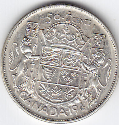 1947 Canada Silver 50-Cent Half Dollar Coin - Straight 7