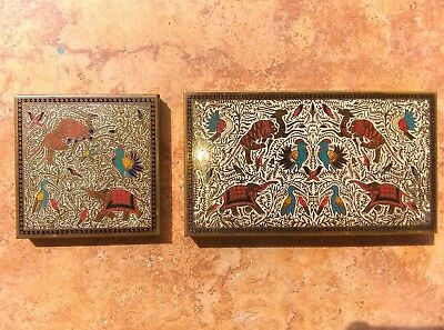 1930s Brass Volupte Compact Set (2 Pieces) with Persian Motif