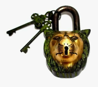 Lion Shape Antique Vintage Finish Handmade Solid Brass Padlock With Working Keys