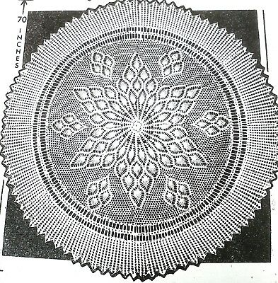 E-280 Vintage SW PINEAPPLE CENTERPIECE SQUARE Pattern to Crochet Reproduction