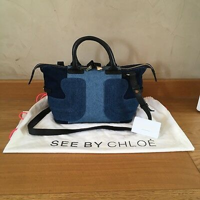 Sac SEE BY CHLOÉ Cuir Jeans Original 35x20cm + Carte D authenticité + Bag 44213c96d1d
