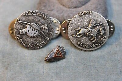 3 Vintage Brave Tribesman Royal Rangers Indian Arrowhead Red Triangle Pin Lot