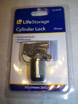 10 Pack LIFE STORAGE 19MM CYLINDER LOCK WITH THREE TUBULAR KEYS