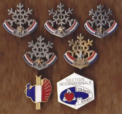 LOT DE 7 INSIGNES BROCHE  FLOCON ESF ECOLE SKI FRANCE +++++++++voir les 2 scans