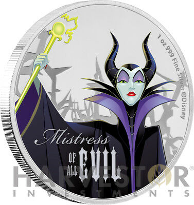 2018 Disney Villains - Maleficent - 1 Oz. Silver Coin - Ogp Coa - 2Nd In Series
