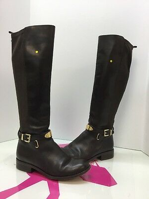 MICHAEL KORS Hamilton  tall Brown Leather Boot Flat Riding  Boot Size 5.5 M