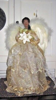 African American Angel Christmas Tree Topper In Gold Gown 16 Table