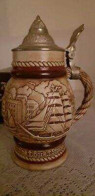 Tall Ships 1977 Ceramic Beer Stein W/lid Handcrafted Ceramarte In Brazil#263255