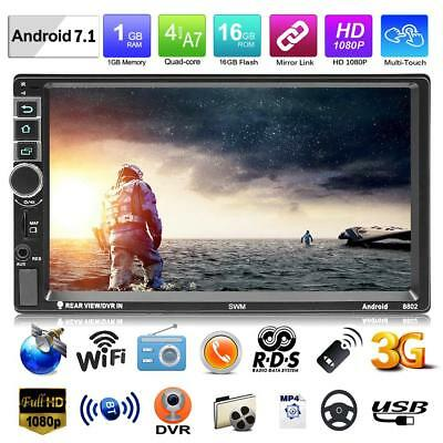 """7"""" 2 Din Quad-core Android 7.1 Car Stereo MP5 Player GPS Navi RDS FM AM Radio"""