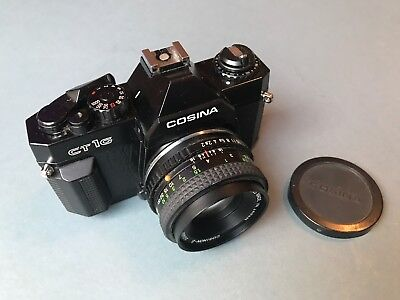 Vintage SLR camera Cosina CT1G and 50mm 1:2 lens excellent condition