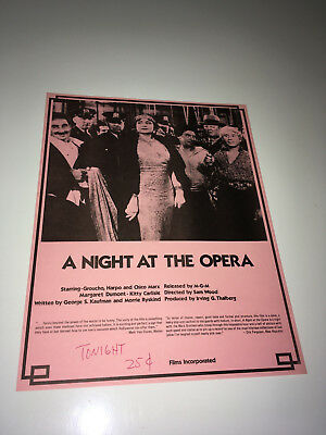 NIGHT AT THE OPERA 1935 Movie Promo Flyer Marx Brothers Comedy R70s Poster