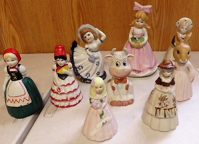 Porcelain Bell Figurines Lot Of 9 Nice For Individual Gifts ! !