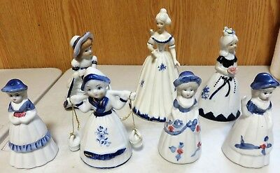 Porcelain Bell Victorian Figurines Lot Of 7 Nice For Individual Gifts ! !