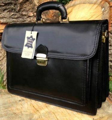 f4f6a769b Hand Made Italian Black Leather Briefcase Laptop Satchel Messenger Office  Bag