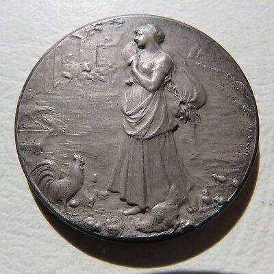 Medaille Argent Oscar Roty French Medal Agriculture Art Nouveau Comice Marle