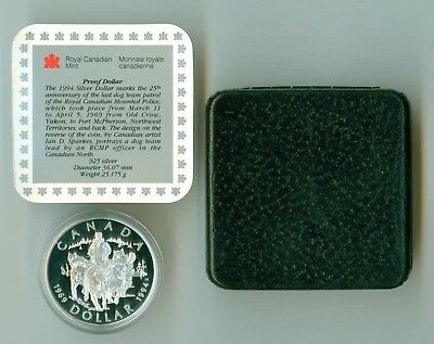 1994 Canada Cased Proof Silver Dollar Rcmp Dog Team  Mint In Box ! .925 Sterling