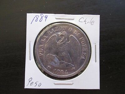 1884 Chile Silver Un Peso in AU/MS Condition