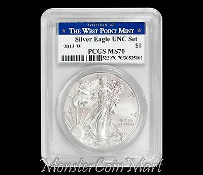 2013-W $1 Silver Eagle PCGS MS70 - Annual UNC Set - Struck at West Point Mint