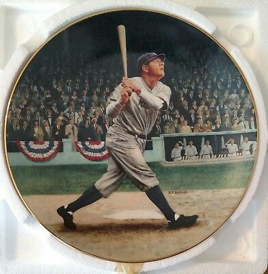 """Babe Ruth """"The Called Shot"""" Numbered Plate + Baseball Card Vintage 1992"""