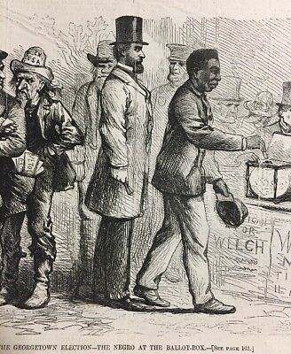 1867 Engraving African American Suffrage Georgetown Election Ex Slave Vote Print