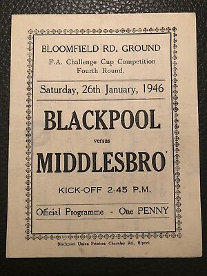 Blackpool v Middlesbrough, (FA Cup 4th Round), 26.1.1946