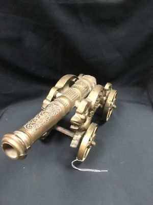 Vintage Solid Brass 3.7kgs Ornate Cannon on Dragon carriage 40cm Long -(6626)