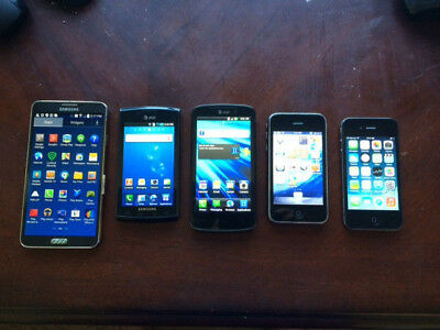 Lot of 5 Used Working Smartphones Iphone4 - Iphone3 - Samsung - LG
